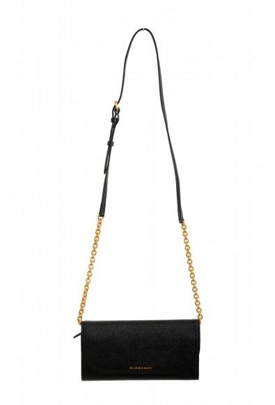 Burberry Women's Black Pebbled Leather Wallet Shoulder Bag