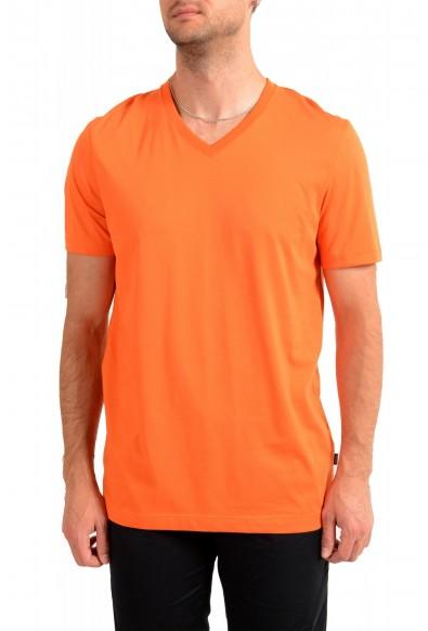 """Hugo Boss Men's """"Tilson 55"""" Regular Fit Bright Orange V-Neck T-Shirt"""