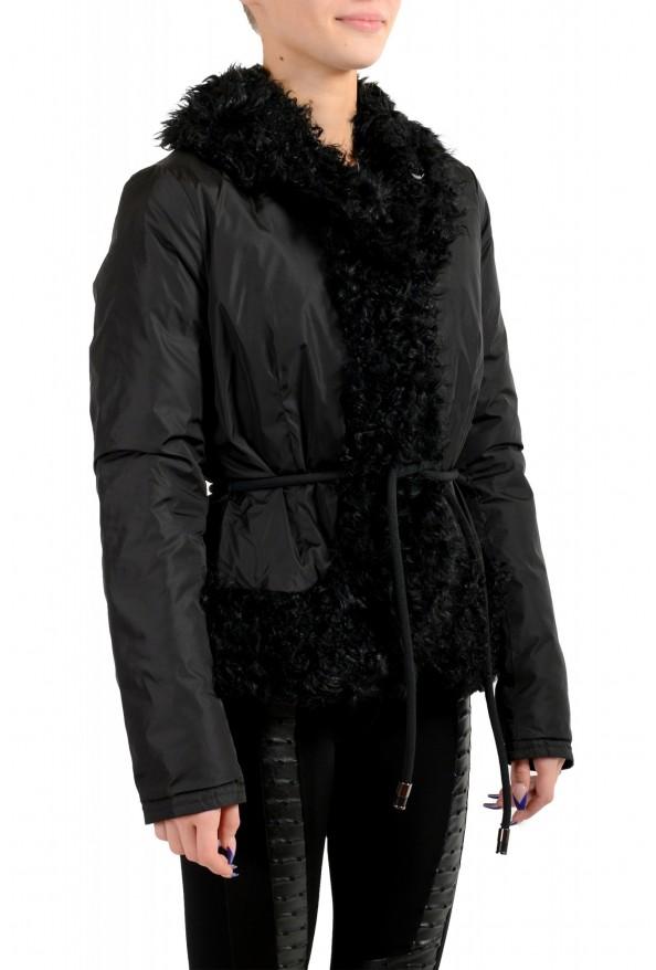 """Moncler Women's """"VENT"""" Black Fur Trimmed Down Parka Jacket: Picture 2"""