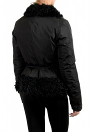 """Moncler Women's """"VENT"""" Black Fur Trimmed Down Parka Jacket: Picture 3"""