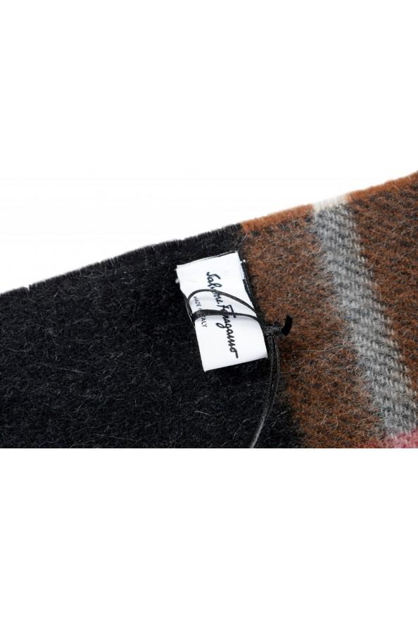 Salvatore Ferragamo Multi-Color 100% Cashmere Plaided Logo Print Shawl Scarf: Picture 3