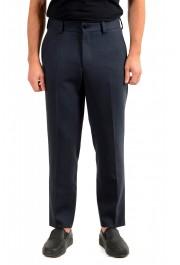"""Hugo Boss Men's """"Perin3"""" Blue Wool Flat Front Dress Pants"""