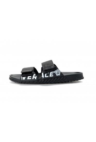 Versace Men's Black Logo Print Sandals Flip Flop Shoes: Picture 2