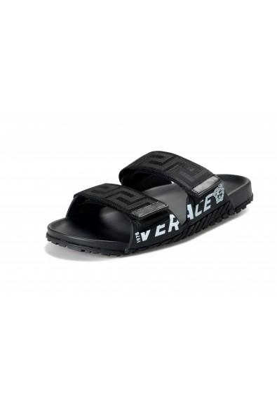 Versace Men's Black Logo Print Sandals Flip Flop Shoes