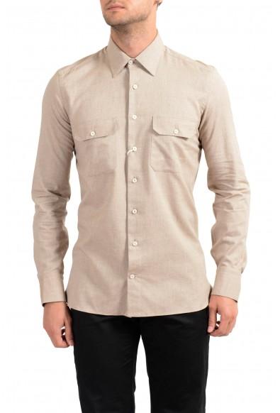 Malo Men's Beige Long Sleeve Dress Shirt