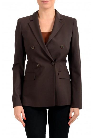 """Hugo Boss Women's """"Jacelynne"""" Brown Wool Double Breasted Button Blazer"""