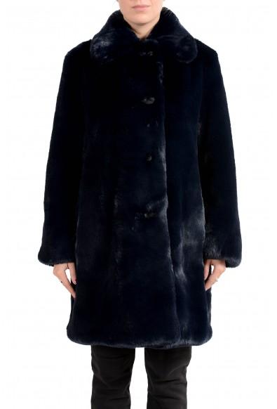 """Burberry Women's """"Tenbridge"""" Dark Blue Faux-Fur Coat"""