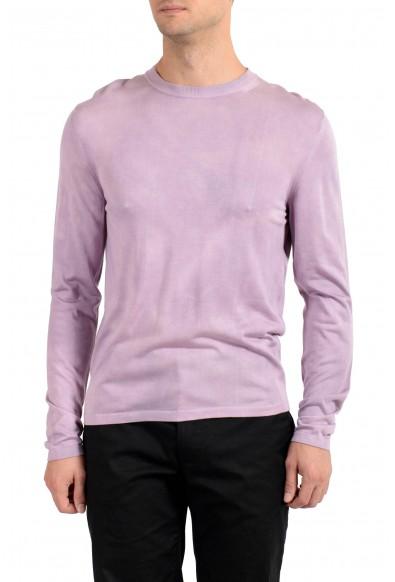Versace Men's Purple 100% Silk Crewneck Pullover Sweater