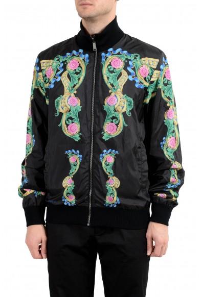 Versace Men's Graphic Wool Full Zip Reversible Bomber Windbreaker Jacket