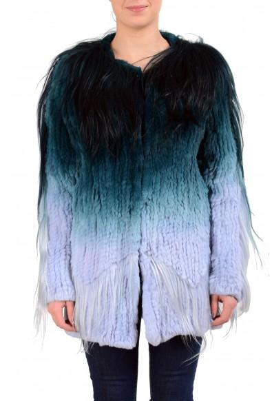 Just Cavalli Women's Multi-Color 100% Goat Fur Button Up Jacket