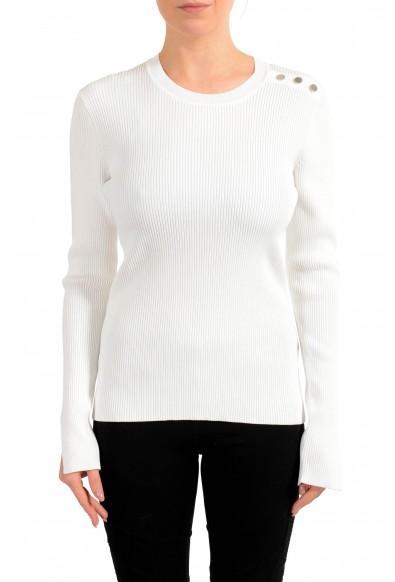 """Hugo Boss Women's """"Fangeli"""" White Long Sleeve Stretch Sweater"""