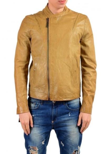 Just Cavalli Men's 100% Leather Brown Full Zip Jacket