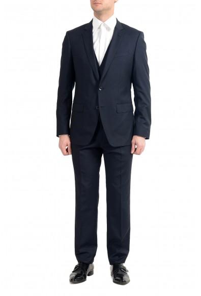 """Hugo Boss """"Huge6/Genius5WE"""" Men's 100% Wool Slim Blue Three-Piece Suit"""