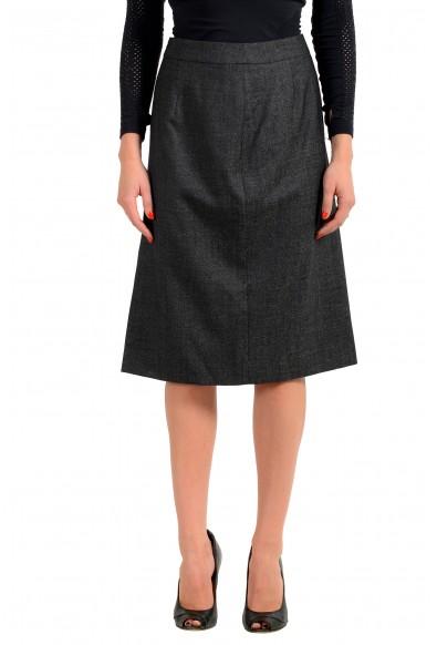 """Hugo Boss Women's """"Vimena"""" Gray Wool Straight Pencil Skirt"""