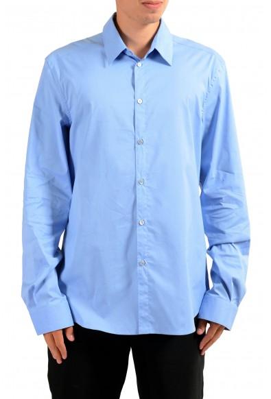 Versace Men's Light Blue Long Sleeve Dress Shirt