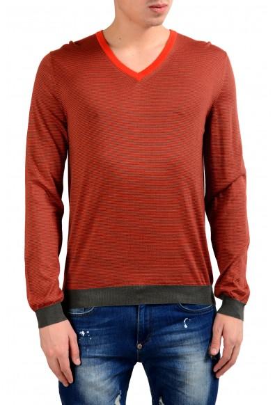 Malo Men's Striped Cashmere Silk V-Neck Pullover Light Sweater